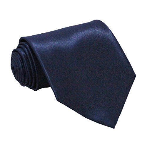 Soophen NEW Mens Necktie SOLID Satin Neck Tie Navy (Navy Blue Mens Tie)