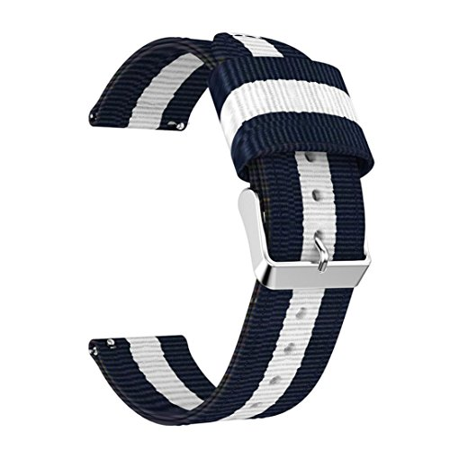 Owill Woven Nylon Stripe Pattern Adjustable Replacement Band Sports Strap for Samsung Gear S3 Frontier/S3 Classic Watch, Fits 135mm-205mm Wrist (Multicolour (Samsung Stripe)