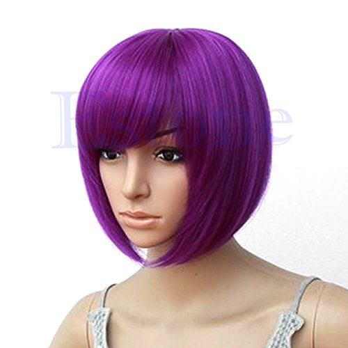 MEXUD Sexy Women BOBO Head Style Straight Bang Short Wigs Hair Cap Hairnet (Purple) (Cheap Coloured Wigs)