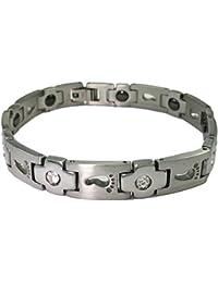 Men's Stainless Steel CZ Cross Footprints Magnetic Link Bracelet w. Link Removal Kit 7BR012