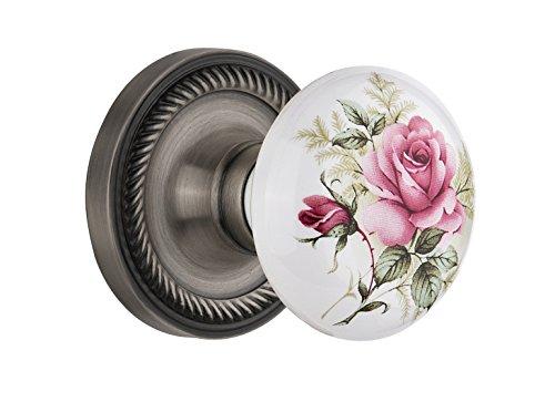 Nostalgic Warehouse Rope Rosette with White Rose Porcelain Knob, Privacy - 2.375