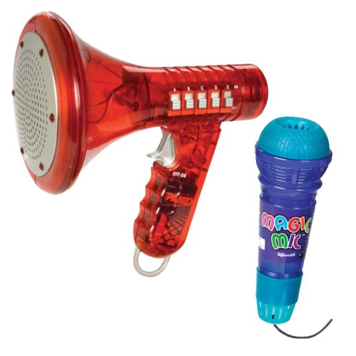 Toysmith Multi Voice Changer with Translucent Magic Mic, Red/Purple