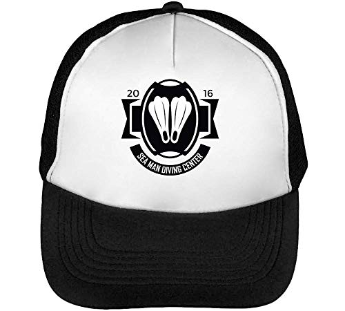Sport Badge Man Diving Center Gorras Hombre Snapback Beisbol Negro Blanco
