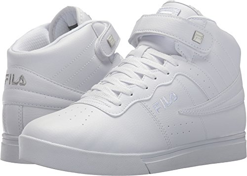 Fila Men's Vulc 13 Mid Plus Fashion Sneakers, White, Microsuede, Rubber, 10.5 M