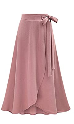 Les umes Womens Fashion Irregular Hem Flare Skirt Elastic High Waist Spring Fall Midi A-Line Knit Skirts