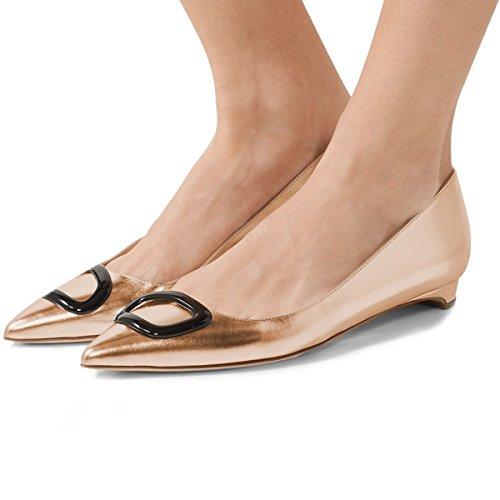 Fsj Vrouwen Casual Slip Op Platte Schoenen Balletschoenen Puntige Toe Pumps Voor Comfortabel Lopen Maat 4-15 Us Oranje
