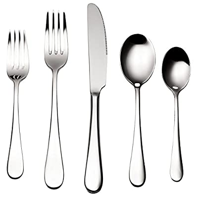 Bruntmor, ALBA Silverware Royal 20 Piece Flatware Cutlery Set, 18/10 Stainless Steel, Service for 4 - 4 place settings include: 4 dinner forks, 4 tablespoons, 4 knives, 4 salad forks, 4 teaspoons Each utensil is individually wrapped in polybags and packaged in box Luxury mirror polish requires no re-polishing, will not dull and holds its sheen; Dishwasher safe - kitchen-tabletop, kitchen-dining-room, flatware - 41mqpPUSlwL. SS400  -