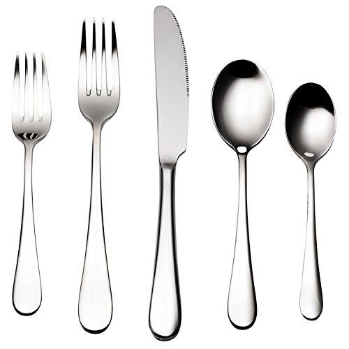 41mqpPUSlwL - Bruntmor, ALBA Silverware Royal 20 Piece Flatware Cutlery Set, 18/10 Stainless Steel, Service for 4