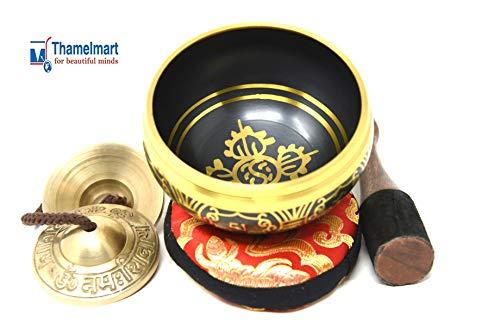 3.75 Inch Meditation Om Mani Padme Hum Peace Wooden Striker, Om Tingsha Cymbals & Cushion