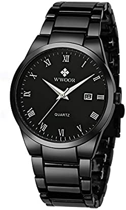 WWOOR Men's Watch Analog Quartz Waterproof Watch with Date Fashion Business Stainless Steel Casual Gift Wrist Watches (Black)
