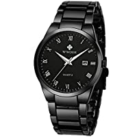 WWOOR Store Men's Watch Analog Quartz Waterproof Watch with Date Fashion Business Stainless Steel Casual Gift Wrist Watches (Black)