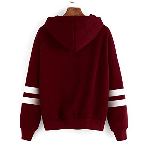 Tefamore Mujeres Halloween Casual & Moda flores de impresión suéter encapuchado Vino rojo