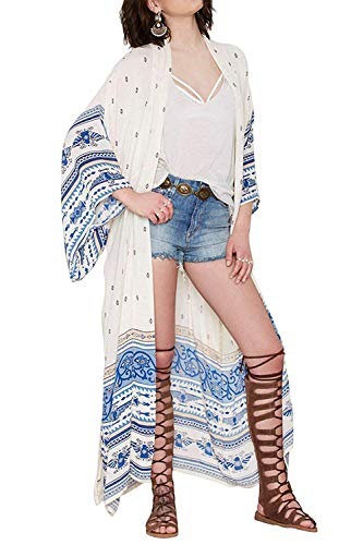 (FOCUSNORM Women Chiffon Beach Dress Kimono Cardigan Swimsuit Cover Up Beachwear Dress (Y 01, One Size Fits US)