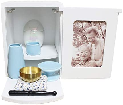 ミニ仏壇 メモリアルBOX ホワイト ミニ仏具3点セット ブルー おりん 2~4寸骨壷収納