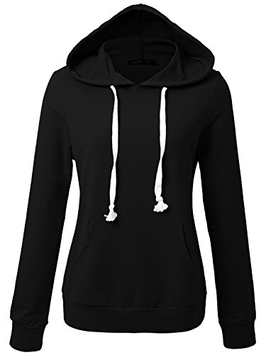 JayJay Women Long Sleeve Lightweight Casual Pullover Hoodie Sweatshirts With Kangaroo Pocket,Black,2XL by JayJay Active