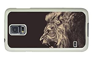 Hipster glitter Samsung Galaxy S5 Cases angry male lion PC White for Samsung S5
