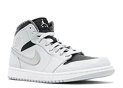 Nike Mens Air Jordan 1 Retro Mid Basketball Shoe Pure Platinum/White-Metallic Silver 10