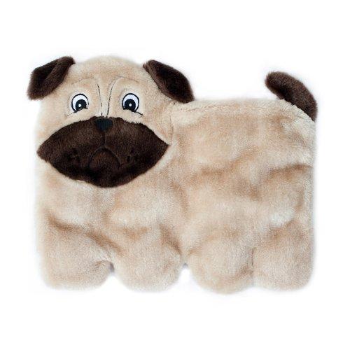 ZippyPaws Squeakie Pup 11-Squeaker No Stuffing Plush Dog Toy, Pug (Dog Toy Pug)