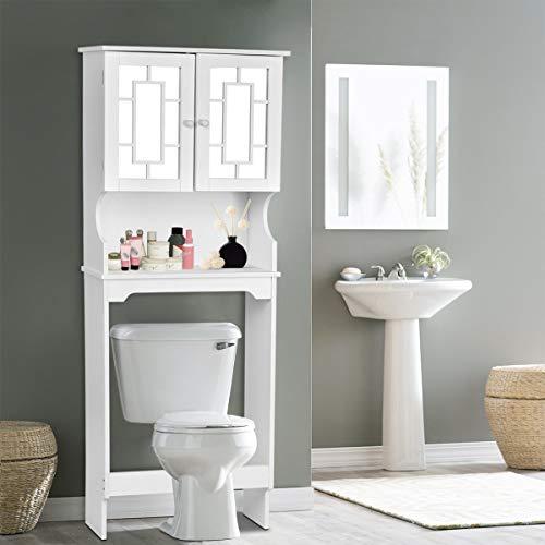 - Giantex Over-The-Toilet Bathroom Storage Space Saver W/Shelf and 2-Door Collect Cabinet (Beige)