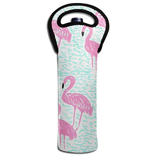 YYH Single Wine Tote Bag,Insulated Padded Thermal Wine Bottle Carrying Cooler Carrier for Travel,Pink Flamingo ()