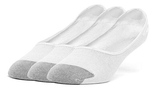 Galiva Men's Cotton Lightweight No Show Liner Socks - 3 Pairs, Small, White