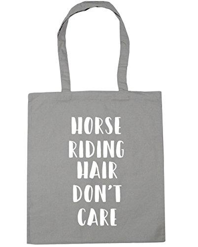 HippoWarehouse Don 't care de pelo de caballo bolsa de la compra bolsa de playa 42cm x38cm, 10litros gris claro