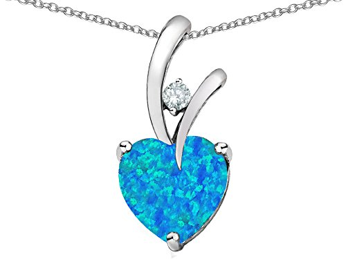 Star K Heart Shape 8mm Blue Created Opal and Cubic Zirconia Endless Love Pendant Necklace Sterling Silver