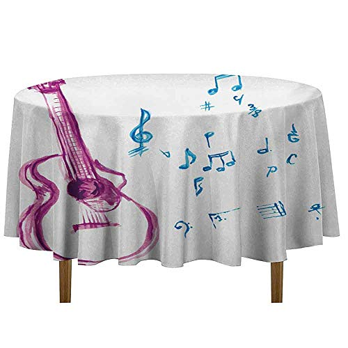Guitar Easy Care Leakproof and Durable Tablecloth Watercolor Musical Instrument with Notes Sheet Elements Brush Stroke Effect Outdoor Picnic D35 Inch Magenta Blue White ()