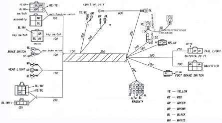 JIKAN Complete Wiring Harness kit Wire Loom Electrics
