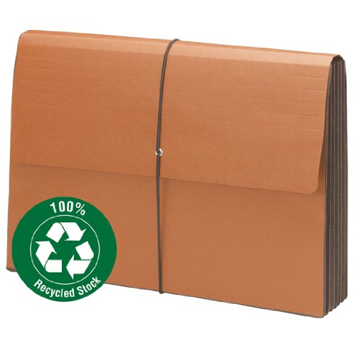 Smead 100% Recycled Expanding File Wallet with Flap and Cord Closure, 5-1/4'' Expansion, Legal Size, Redrope, 10 per Box (71199)