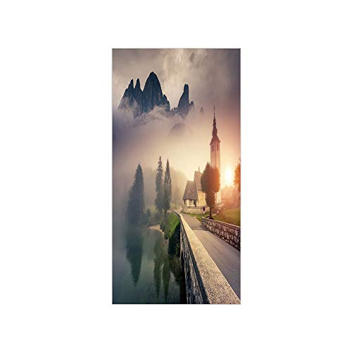 3D Decorative Film Privacy Window Film No Glue,Landscape,Majestic Foggy Morning Scene Triglav National Park Mountain Valley Dramatic View Decorative,Beige Grey,for Home&Office