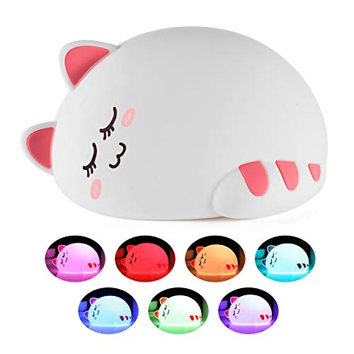 Night Light for Kids, Baby Cute Cat Soft Silicone Animal Nursery Night Lamp, Tap Control Color Changing Bedroom Breastfeeding Nightlight Kitty Lamp Gift for Newborn Toddler Children Girls Lover ()