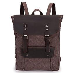 4cd9c9b0b5ab3 5 ALL Damen Herren Studenten Vintage Retro Canvas Leder Rucksack  Schultasche Reisetasche Daypack Uni Backpack 15