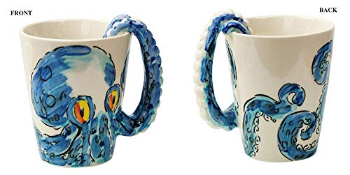 - Ceramic 3D Octopus Coffee Mug with Tentacle Handle Color Blue