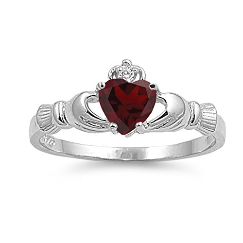 925 Sterling Silver Faceted Natural Genuine Reddish Purple Garnet Claddagh Heart Promise Ring Size 6
