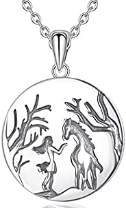 CELESTIA Celtic Horse Head Necklace for Women Sterling Silver Pendant Jewelry Horse Gifts for Girls Horse Love