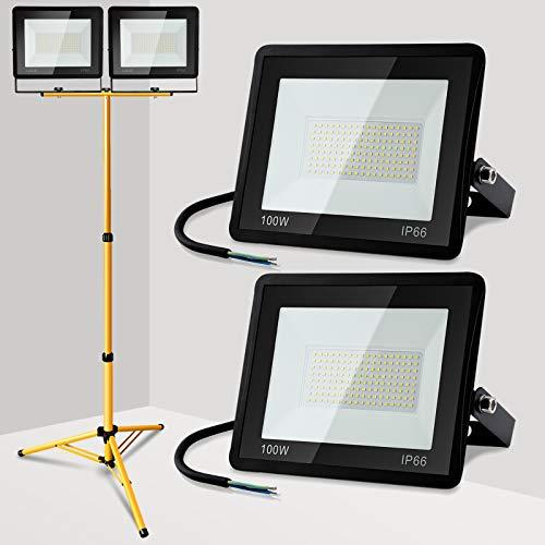 Hengda LED Außenstrahler mit Stativ, 2 Stück 100W, IP65 Wasserdicht Fluter Strahler, LED Baustrahler Scheinwerfer mit…