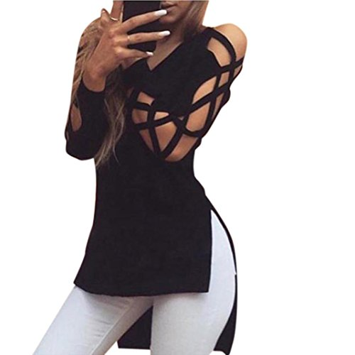 2018 New Women's Club Sexy Hollow Sleeve Shirts Tops Casual Blouse by E-Scenery (Black, Small) - Womens Sexy Top New Shirt