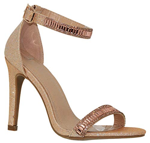 MVE Shoes Women's Shimmer Heeled Sandals - Sexy Stilleto High Heels - Open Toe Ankle Strap Sandals, Pictor-1 champane 7 (Sexy Shimmer)