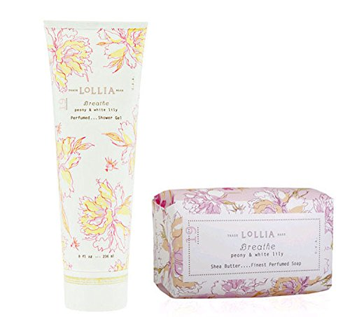 Lollia Breathe Shower Gel & Bar Soap Duo pleasing scents of Peony & White Lily ()