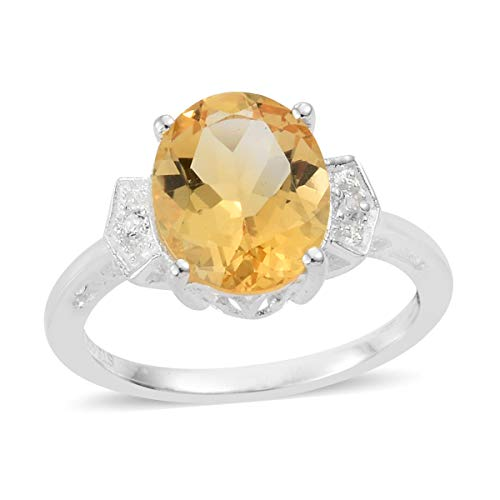 - 925 Sterling Silver Citrine Cubic Zirconia Ring Size 8 Cttw 2