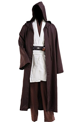 Cosplaysky Adult Tunic Hooded Robe Outfit for Jedi Costume Medium White