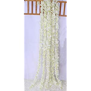 Lannu 5 Pack 13 FT Artificial Hydrangea Flower Vine Wisteria Garland Vines Cattleya Flowers Plants for Home Wedding Party Decor, Cream 5