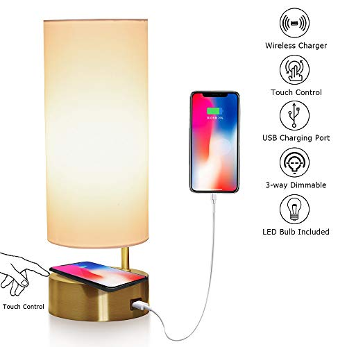 LEGELITE Touch Table Lamp with Wireless Charger and USB Port, 3-Way Dimmable Desk Lamp Modern Nightstand Lamp for Bedroom Living Room Office, Led Bulb Included