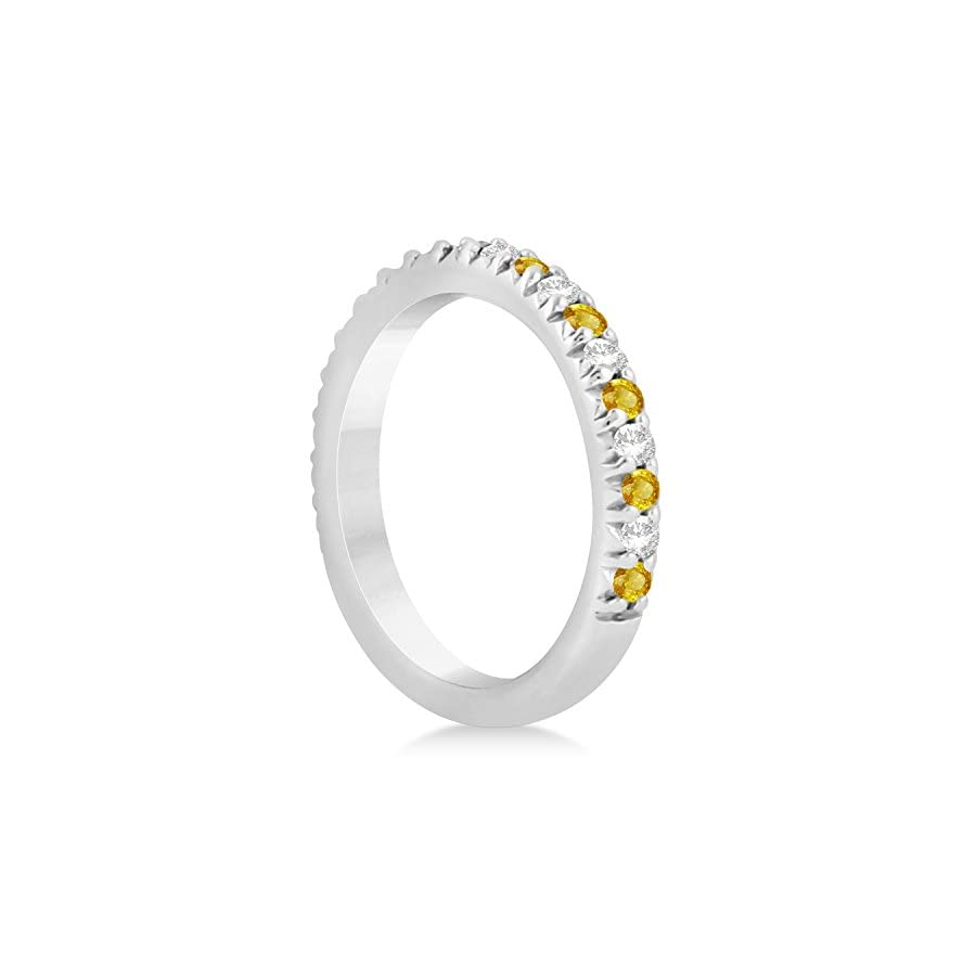 (0.60ct) Palladium Yellow Sapphire and Diamond Accented Prong Set Wedding Band