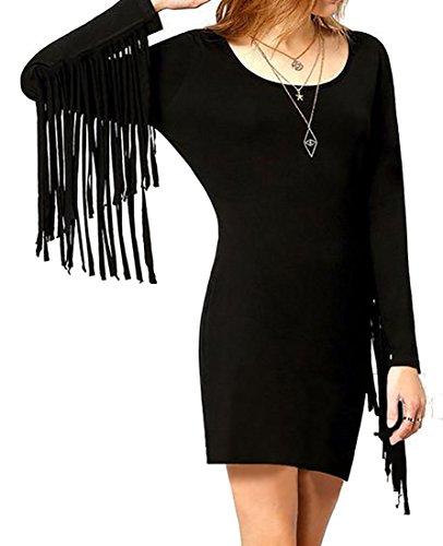 Long Bodycon Cruiize Scoop Mini Neck Black Solid Dress Sleeve Women's Tassel 05xwqAB5