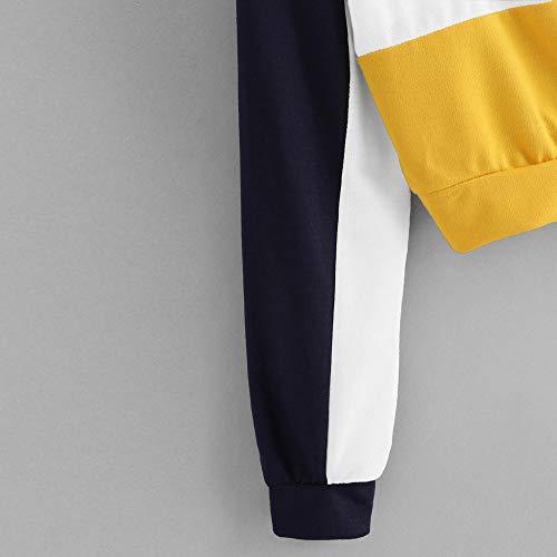 rcool Corto Yellow Felpe Lunga Felpa T Manica Banda Casual Maglietta Ragazza Cerniera Camicetta Camicette Risvolto Camicia Tumblr Pullover Donna shirt REwES