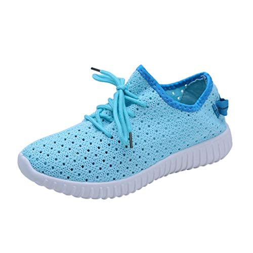 UOKNICE Clearance Women Outdoor Mesh Shoes Casual Lace up Flat Gym Comfortable Soles Running Sports Shoes(Sky Blue, CN 36(US 5.5))