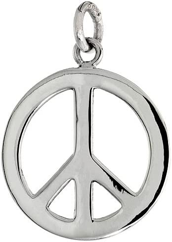 Sterling Silver Peace Sign Pendant with 18 inch Thin Box Chain 1 7//16 inch Long
