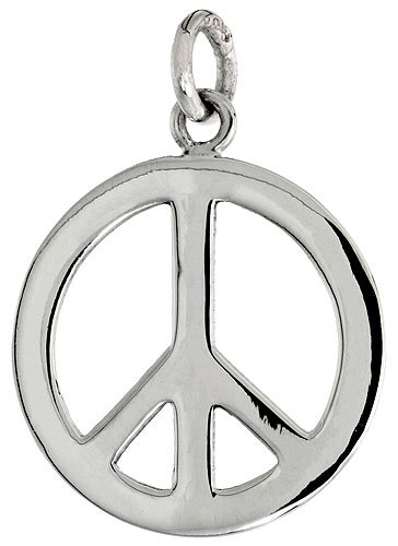 Sterling Silver Small Peace Sign Pendant, with 18 inch Thin Box Chain, 13/16 inch long